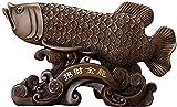 Estatua Impresionante Adorno de jardín para el hogar Escultura Decoración Lucky Gold Dragon Fish Estatua Resina Artesanía Feng Shui Decoración, para sala de estar Oficina de decoración Empresa Hotel