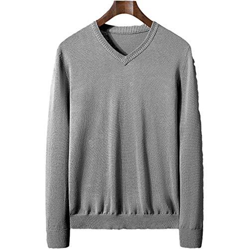 Jersey de Gran tamaño Suelto de Color sólido con Cuello en V para Hombre, suéter de Punto clásico clásico Informal Simple y de Moda 4XL