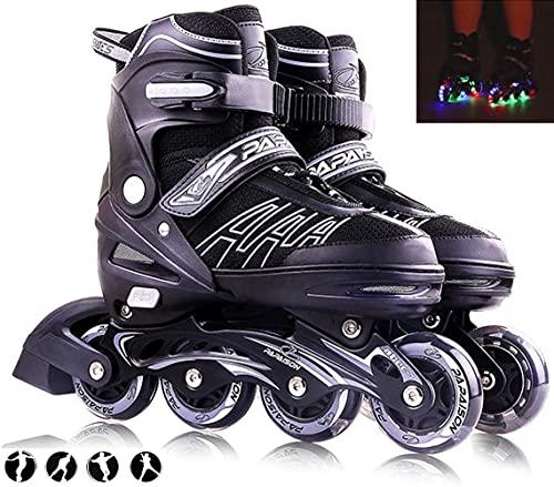 XIUWOUG Inline Skates Für Kinder Und Erwachsene, 8 LED-Blinkräder, 27-44 Einstellbare Schuhgröße, ABEC-7 Lager, Doppelt Schuhkopf Kann die Zehen Besser Schützen,Schwarz,L 37_40
