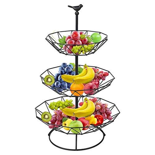 DLILI 3-nivås bänkskiva fruktkorg metall fruktkorg fruktskål för bord avtagbar grönsaksbrödkorg display förvaringsställ badrum organisation, svart, korg förvaringslåda