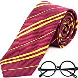 Cosplay Striped Tie with Novelty Glasses Frame for Cosplay Party Costume Necktie Accessories for Halloween Christmas Birthday Party - Red