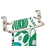 mDesign Tea Towel Holder – Over Door Towel Rail with No Drilling Required – Kitchen Towel Holder – Ideal for Kitchens & Bathrooms - Matte Silver