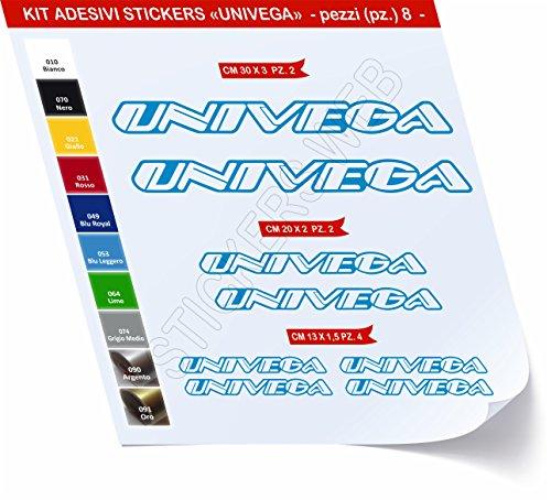 Adesivi Bici UNIVEGA Kit Adesivi Stickers 8 Pezzi -Scegli SUBITO Colore- Bike Cycle pegatina cod.0482 (Blu Leggero cod. 053)