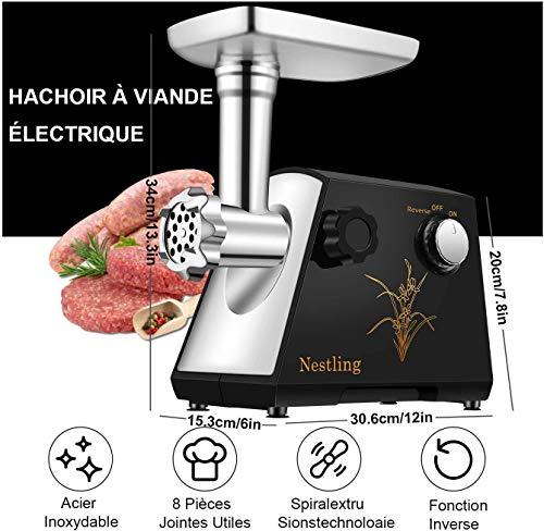 Nestling® 400W MAX Hachoir à Viande Électrique,Maison Multifonction Hachoir, Fabricant de Kibbeh et Saucisse,3 en 1 acier inoxydable Hachoir à Viande,Hachoir à Légumes