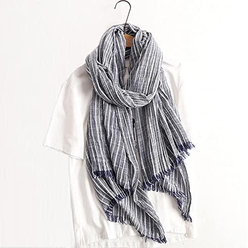 ShSnnwrl Wrap for Women Neatly Stitched Bufanda de otoño Invierno para Mujeres y Hombres, Bufandas de Lino de algodón a Rayas, chales y Bufandas