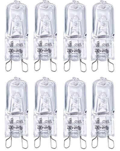 Poweka - Bombilla G9 para horno halógeno G9 (25 W, 230 V, tolerancia de 300 °C, 8 unidades)