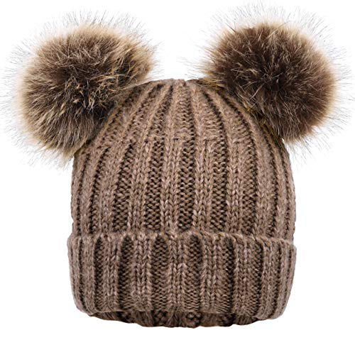Arctic Paw Women Winter Double Ears Pompom Beanie Khaki Hat Coffee Ball