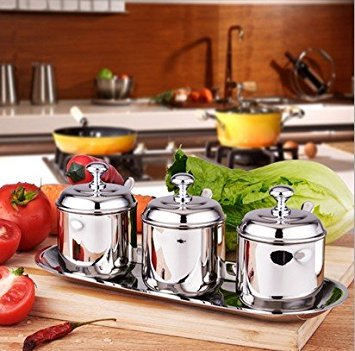 Artmice-Sugar Bowl,Artmice Stainless Steel Sugar Bowl with Lid and Sugar Spoon for Home, Cylinder Shape, 8.44 Ounces(250 Milliliter) (Set of 3(With Stand))