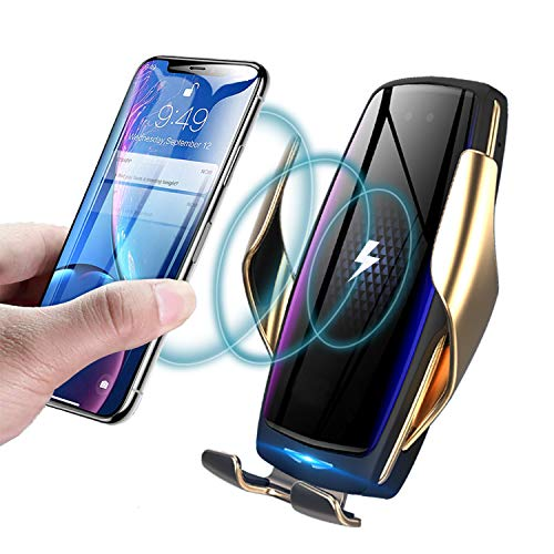 KMI CHOU Wireless Car Charger,Automatic Clamping IR Intelligent Wireless Car Charger - Car Charger Holder 10W Fast Charging for iPhone Xs Max/XR/X/8/8Plus Samsung S10/S9/S8/Note 8(Negative Ion Film)