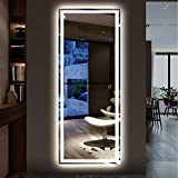 NeuType 59'x24' LED Wall Mirror Full Length Mirror Floor Mirror Dressing Mirror for Bathroom Bedroom Living Room with Smart Touch Button, Stepless Dimmable Lighting, Shatterproof Glass, Waterproof