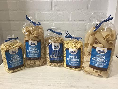 Confezione dispensa - Orecchiette, Cannerozzi, Mezzemaniche, Paccheri rigati, Cavatelli - Pasta prodotta con metodo artigianale - 1 Confezione per tipo da 500gr
