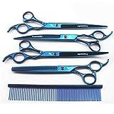 M-Chteranoto 8 Pulgadas de peluquería para Mascotas Tijeras Set Blue fijado Alto Tijeras Mascota de la Clase Set-1
