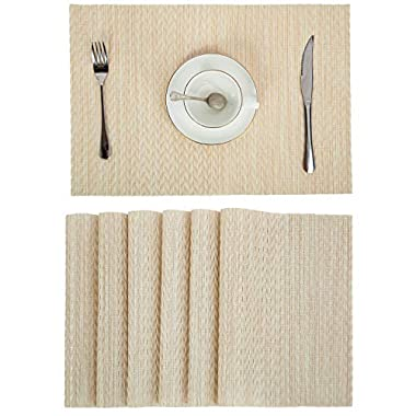 Pauwer Placemats Set of 6 Woven Vinyl Placemats for Dining Table PVC Plastic Place Mats Washable Indoor Outdoor Placemats Wipe Clean (6, Gold)