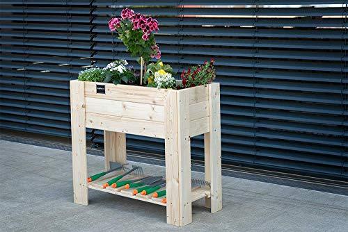 Schroth Home Hochbeet Compact Bausatz 80 x 80x 40 cm rechteckig – Hochbeet Holz mit Ablage – Hochbeet für Balkon Garten – mit Gratis Pflanzfolie