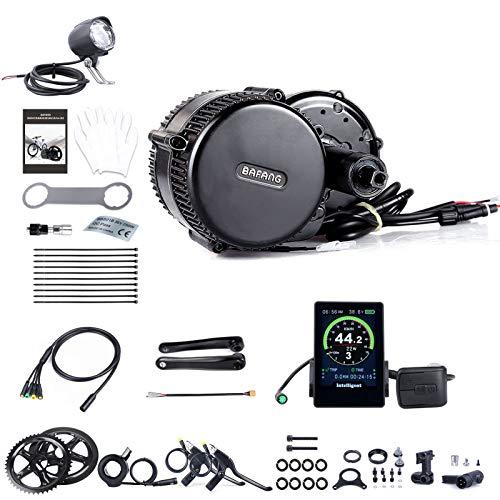 BAFANG Mid Drive Motor Kit Ebike Elektromotor für Rennradfahrräder mit Fahrradcomputer farbig, Kettenblatt, Daumengas, Geschwindigkeitssensor, Bremshebelsatz, Verlängerungskabel, Kurbelgarnitur