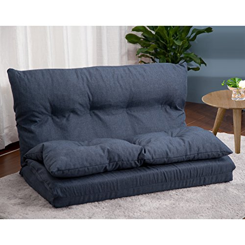 Merax Adjustable Fabric Folding Chaise Lounge Sofa Chair Floor Couch (Navy 1)