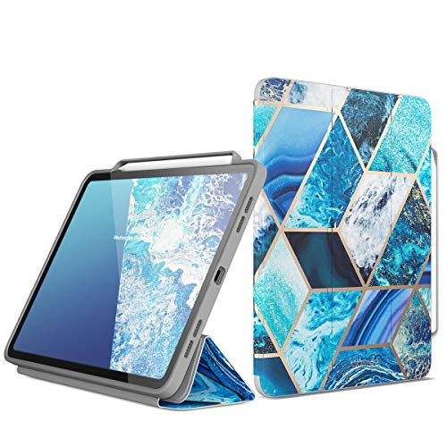i-Blason Case for iPad Pro 12.9 Inch 2018 Release, [Cosmo] Full-Body Trifold Stand Protective Case Cover with Auto Sleep/Wake & Pencil Holde, Blue, 12.9'