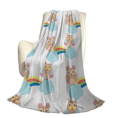 Owls - Manta súper Suave para decoración con diseño de búhos en Las Nubes con arcoíris, Cielo después de la Lluvia, pájaros voladores, Juguetes, Ilustraciones de Verano, sofá Cama de Viaje d