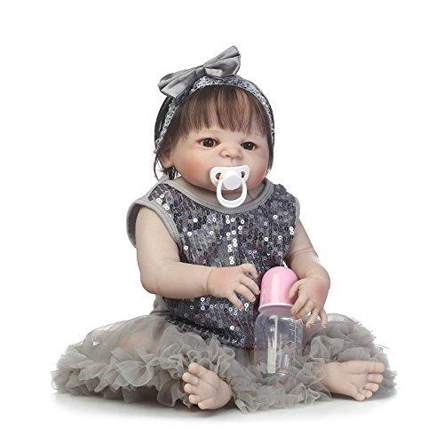 GAOFQ Nuevo Pelo de Fibra, muñeca de Silicona Completa para niña, 22 Pulgadas, 55 cm, muñeca Realista para bebé recién Nacido, Vestido Gris Brillante, Juguete de baño para niños