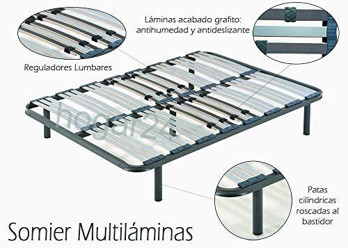 HOGAR24 ES Somier Multiláminas con Reguladores Lumbares, 135x190 cm (5 Patas de 32 cm Incluidas)