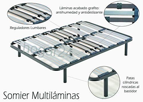 HOGAR24 ES Somier Multiláminas con Reguladores Lumbares, 13