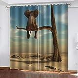 XFHHXFY Cortinas Opacas Elefante del Desierto Poliéster Cortinas con Ojales 150x166 cm Ahorro de Energía y Reducción de Ruido para Salon Cocina Habitación de Dormitorio 2 Piezas