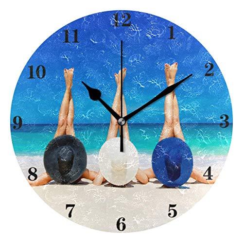 Tres Mujeres jóvenes Reloj de Pared Silencioso Sin tictac Funciona con Pilas Reloj Creativo Decorativo Reloj de Pared de acrílico Redondo para niños Sala de Estar Dormitorio Oficina Cocina