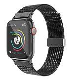 BRG コンパチブル Apple Watch バンド ステンレス留め金製 ミラネーゼループ コンパチブル アップルウォッチバンド コンパチブル Apple Watch 6/5/4/3/2/1/SEに対応(38mm/40mm,ブラック)