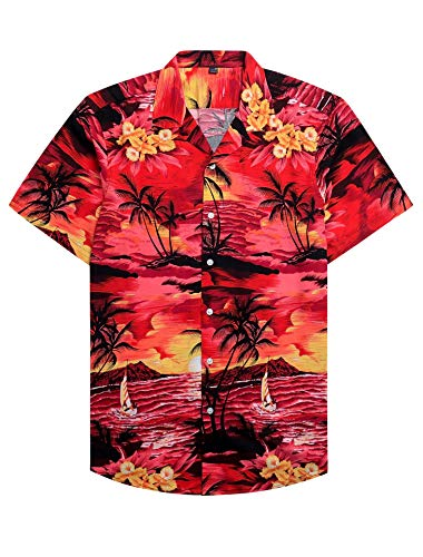 Alimens & Gentle 100% Cotton Regular Fit Short Sleeve Casual Hawaiian Shirt for Men - XL