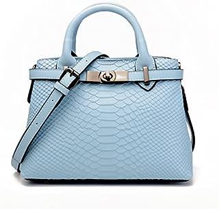 Leather 2018 New Women's Handbags Fashion Shoulder Wallet Crocodile Pattern Multi-Function Women's Messenger Wallet Waterproof (Color : Blue, Size : M)