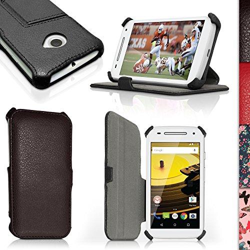 iGadgitz U3880Folio PU Leder Tasche Hülle Schutzhülle Kompatibel mit Motorola Moto E 2. Generation 2015xt1564mit Bildschirmschutzfolie–Schwarz
