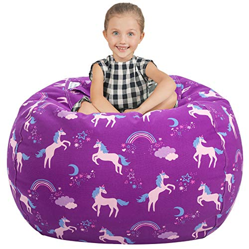"Aubliss Stuffed Animal Storage Bean Bag Chair Cover Only for Plush Toys, Blankets, X-Large 48""-Canvas Unicorn Purple"