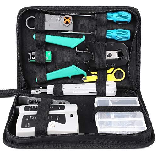 12 in 1 Netzwerk Werkzeug Set mit lsa Auflegewerkzeug,Netzwerk Reparaturwerkzeuge für Computer Wartung, LAN Kabel Tester für RJ45,RJ11, RJ12