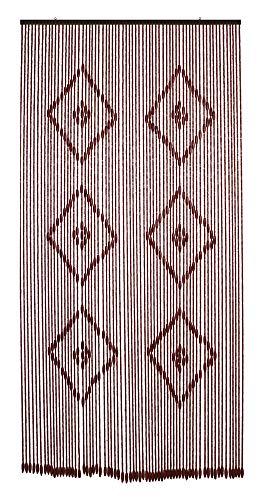 TENDA CON PERLE IN LEGNO MARRONE,ROMBI CHIARI CM120X240 E 100X220,PARAMOSCHE