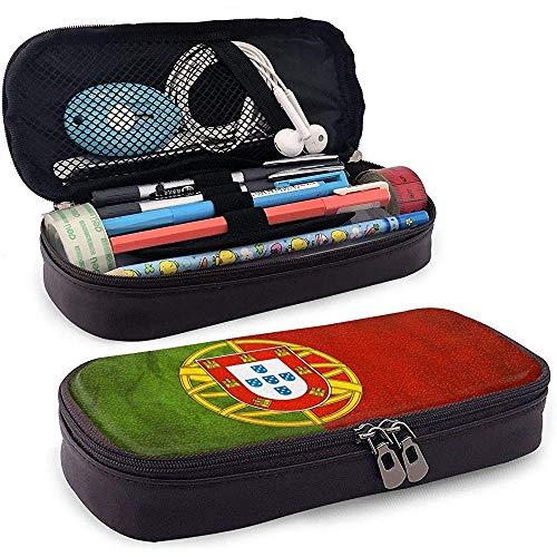 Portugal Flag Gran Capacidad Funda de Lápiz de Cuero Lápiz Lápiz Papelería Titular Caja Organizador Colegio Maquillaje Pluma Bolsa de Cosméticos Portátil