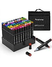 Tongfushop 80 Couleurs Marqueurs, Feutres Kit Double Pointe Stylo Marqueur d'Aquarelle, Crayon de Feutre Marker Créatif pour Débutants Graffiti