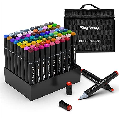 TongfuShop 80 juego de rotuladores de colores, rotuladores de graffiti, rotuladores, rotuladores de doble punta, para estudiantes, artistas de manga, juego de rotuladores de...