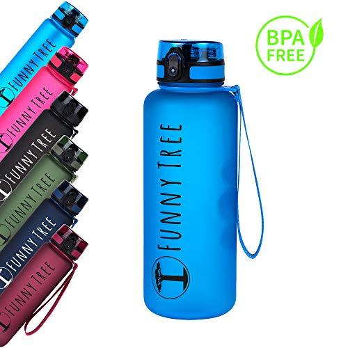 Funny Tree Bottiglia tritan. 1500ml Blu Oceano. Senza BPA e a Prova di perdite! Ideale in Palestra, per allenamenti di Forza e Benessere, o per Tutti i Vostri Viaggi e attività all'Aria Aperta.