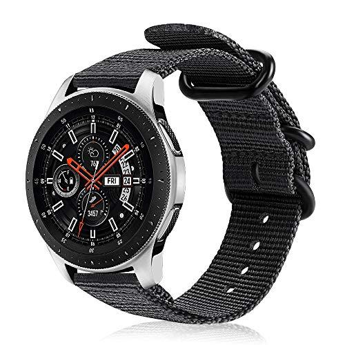FINTIE Cinturino Compatibile con Galaxy Watch 46mm Gear S3 Classic Frontier Huawei Watch GT Sport, 22 mm Morbido Tessuto di Nylon Sports Watch Band Regolabile con Fibbia Acciaio Inox, Nero