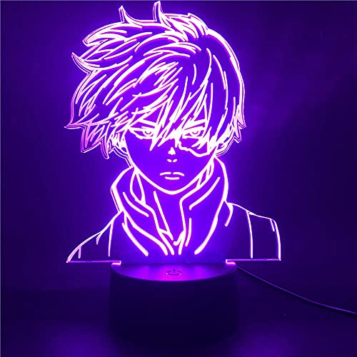 Luces de Anime 3D Led,Anime My Hero Academia Shoto Todoroki Luz de Noche Led 3D Para Decoración de Dormitorio de Niños,Boku No Hero Academia Juguetes Regalos Muñecas Luces De Noche Led