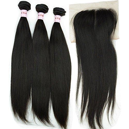 NOBLE QUEEN Hair Lot de 4 extensions de cheveux vierges péruviens raides avec fermetures 10 A non transformés - Cheveux humains non traités - 1 extension de nœuds décolorés - 45,7 cm, 45,7 cm, 50,8 cm + fermeture 2,5 x 30,5 cm