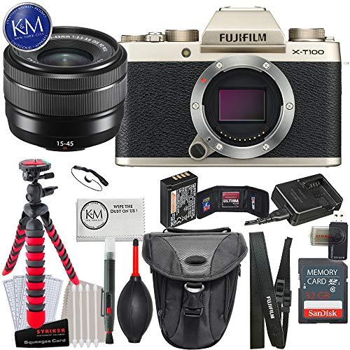 Fujifilm X-T100 Mirrorless Digital Camera w/15-45mm Lens (Champagne Gold) + K&M Photo Bundle