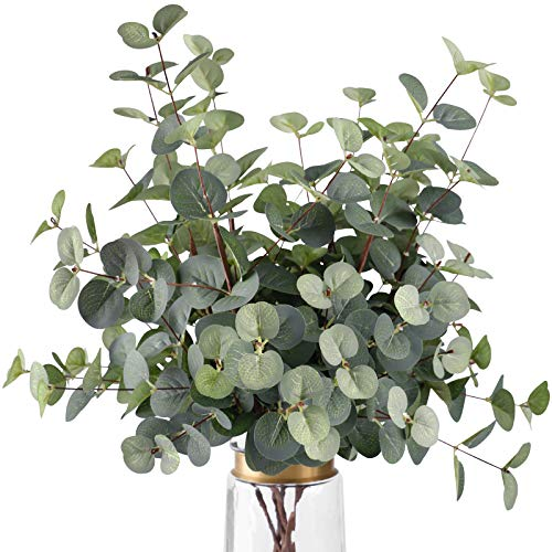FUNARTY 6 Pcs Artificial Eucalyptus Leaves Long Stems 25' Tall with 80 Leaves...