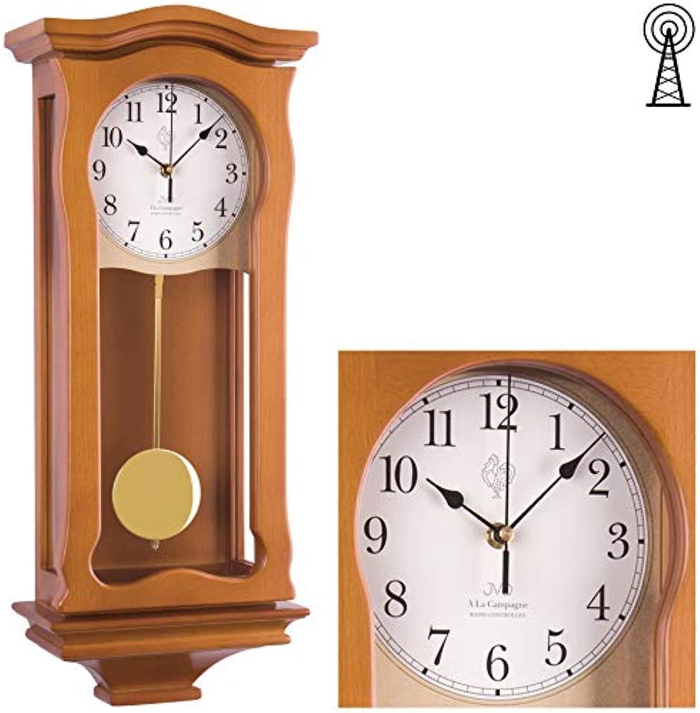 Klassische Wanduhr mit Pendel Funk Uhr Kirschbaum Westminster Regulateur Funkuhr