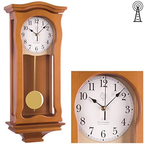 JVD Klassische Wanduhr mit Pendel Funk Uhr Kirschbaum Westminster Regulateur Funkuhr