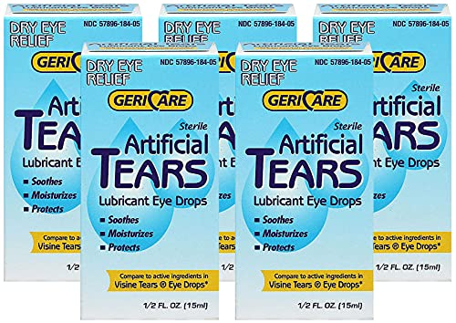 Gericare Artificial Tears Lubricant Eye Drops, 15 mL Per Bottle (5...