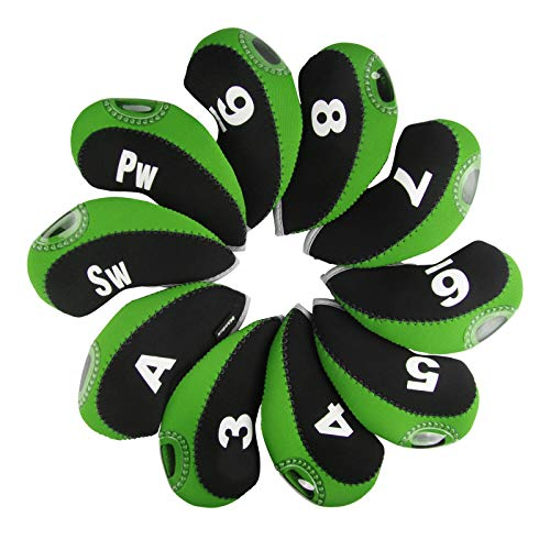 Andux Golf Irons Club Head Covers with Number Tags Pack of 10 Black/Green Mt/s01