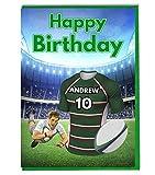 AKGifts Leicester Tigers Maillot de rugby carte d'anniversaire personnalisé–n'importe quel nom ou Âge Imprimé sur le devant
