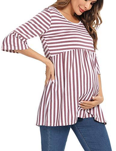 Irevial Camisón de Raya Lactancia para Mujer, Algodon Camisones de Stripe yMangas 3/4.Cómodo Pijama de Maternidad,Tallas Grandes