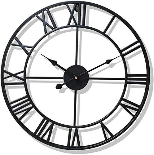 JJDSN Reloj de Pared Grande para decoración del hogar para Sala de Estar, Relojes de Hierro Que no Hacen tictac, números Romanos, Metal Retro Envejecido